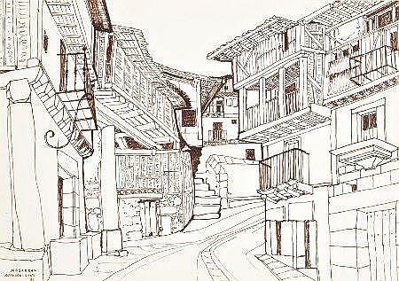 António Lino, 'Mogarraz', tinta-da-china, 23,5x33