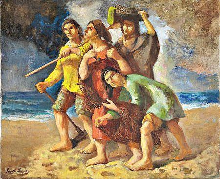 Lázaro Lozano, 'Regresso...', óleo s/tela, 50x61cm