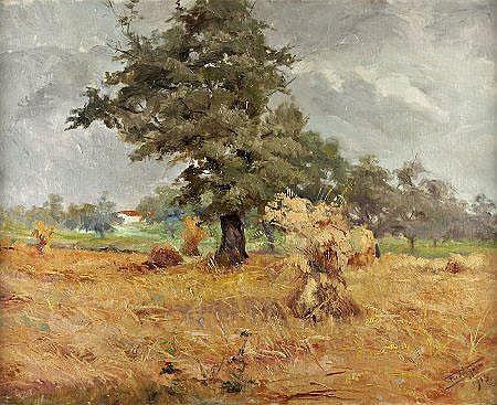Frederico Ayres, Vista de casa, óleo sobre madeira