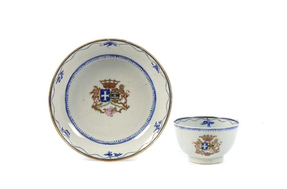 Taça com pires em porcelana chinesa (2)