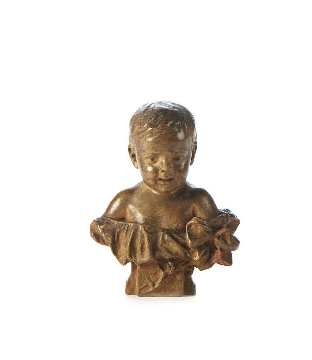 TEIXEIRA LOPES, Busto de criança, Esc. em barro
