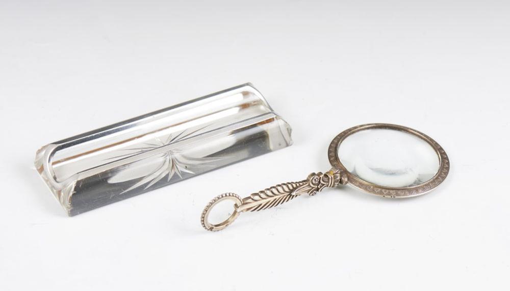 Lupa em prata 833%, e suporte canetas cristal (2)