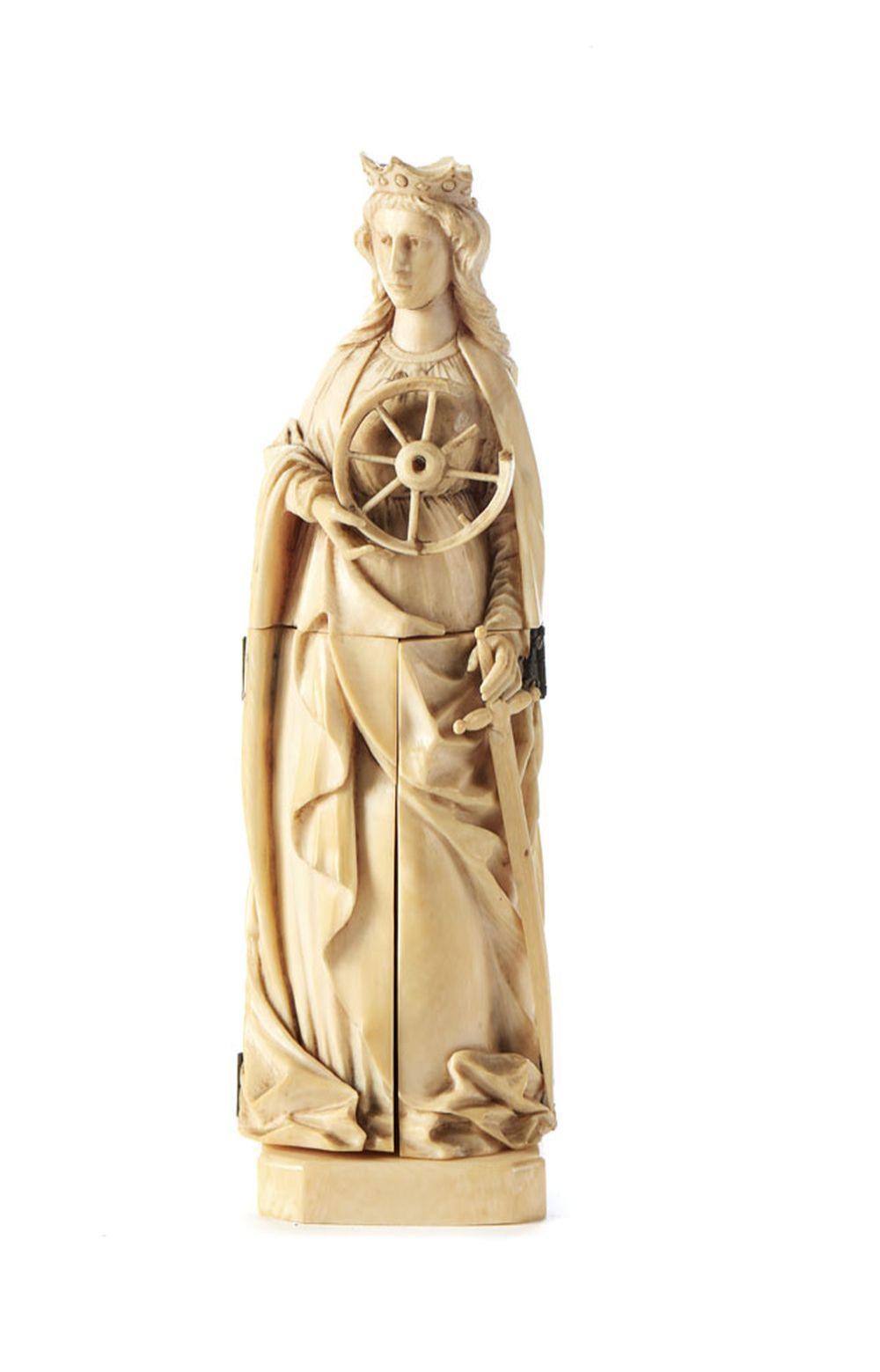 Santa Catarina, tríptico, Esc. europeia em marfim