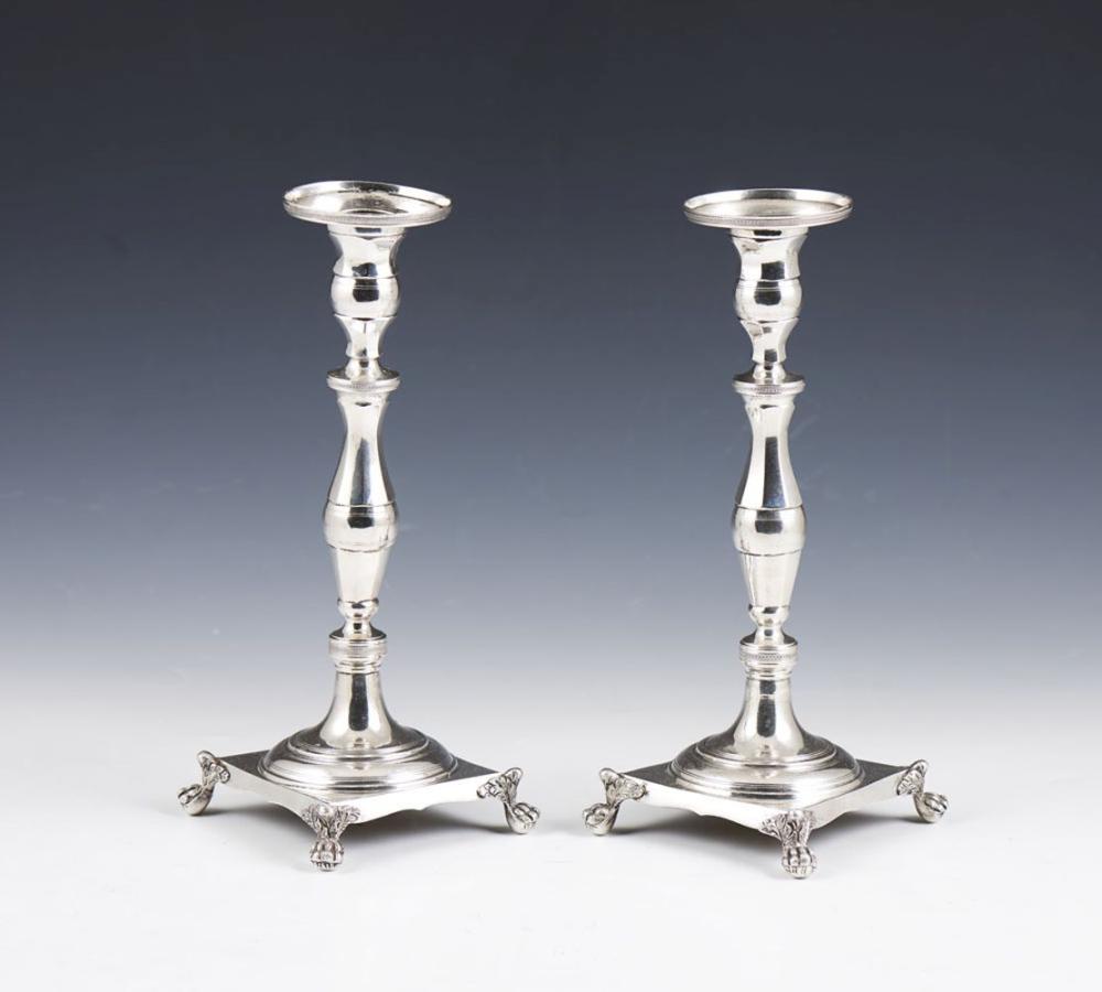 Par de castiçais em prata do séc. XIX, P.738g