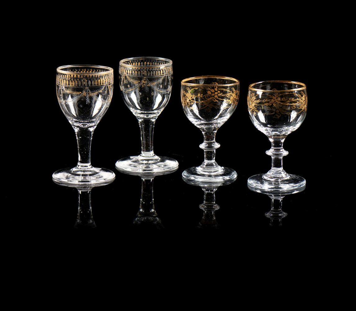 Lote de 4 (2+2) cálices D. Maria em vidro