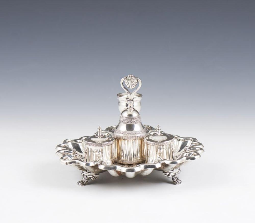 Tinteiro de mesa em prata, séc. XIX. P.532g