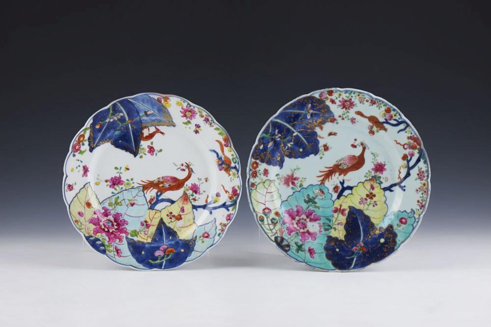 Par de pratos em porcelana chinesa