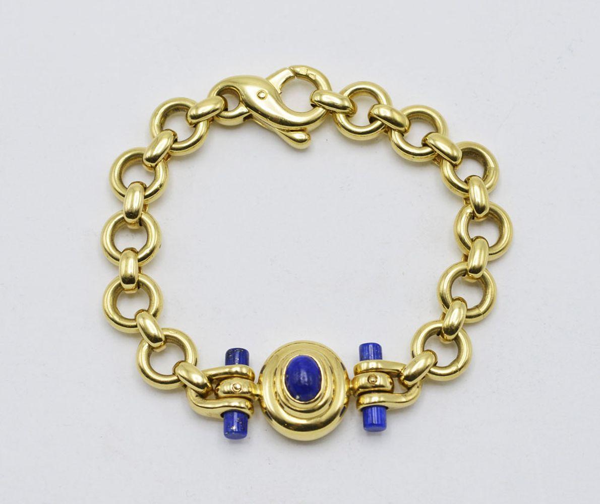 Pulseira em ouro 800% e lápis lazuli, P. 39,1g