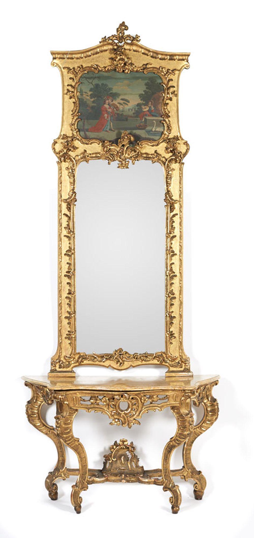 Consola e espelho D. José em madeira entalhada
