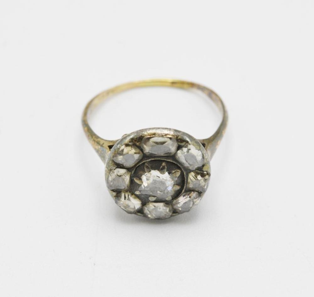 Anel em ouro e prata, P.: 4 g.
