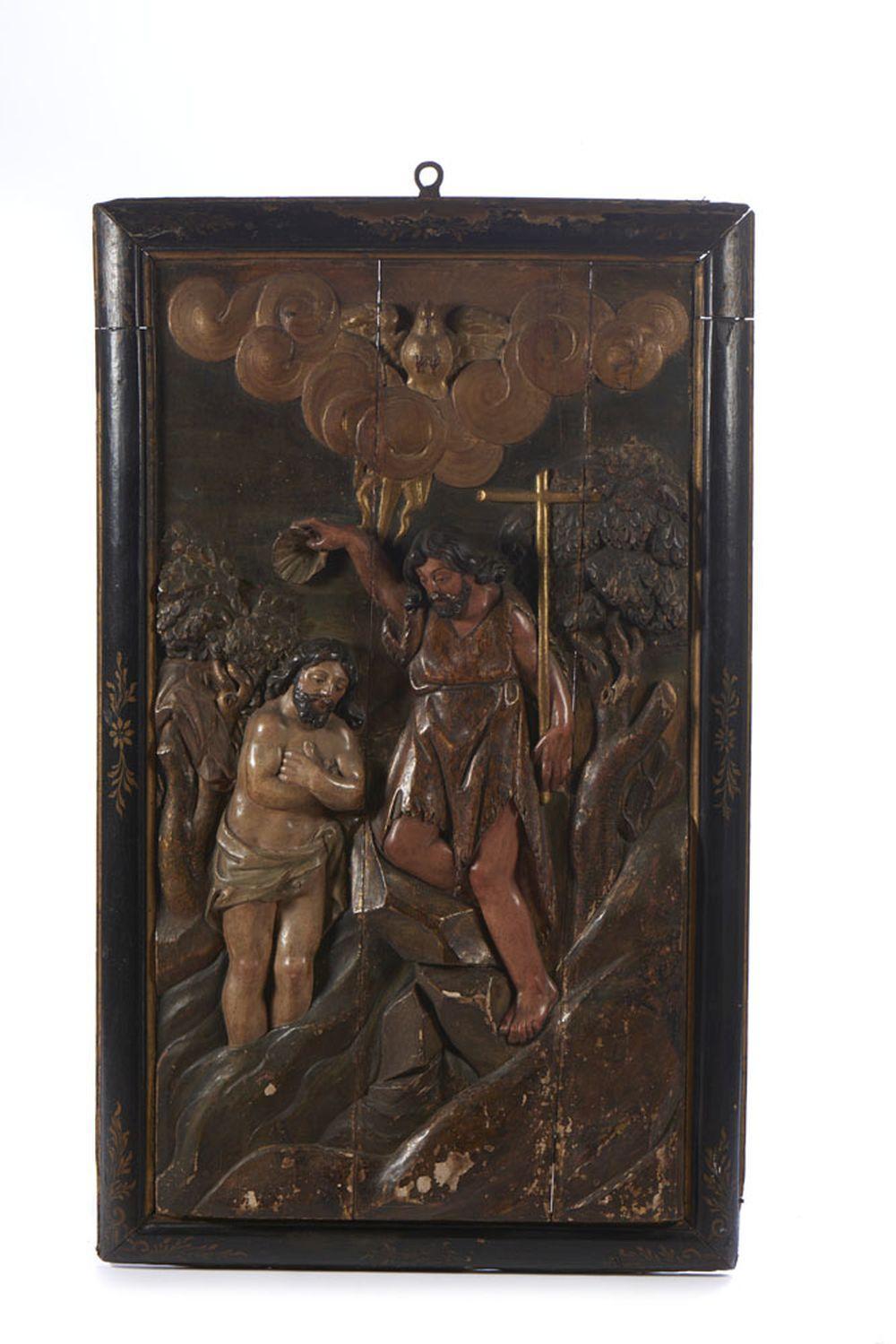 Baptismo de Cristo, retábulo do séc. XVII, madeira