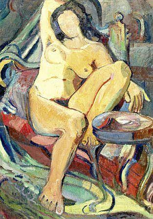 Tom, Figura feminina, óleo, Dim.: 71 x 49,5 cm.