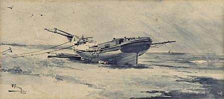 Casanova, Marinha,aguarela s/papel, 14,5 x 32,3cm.