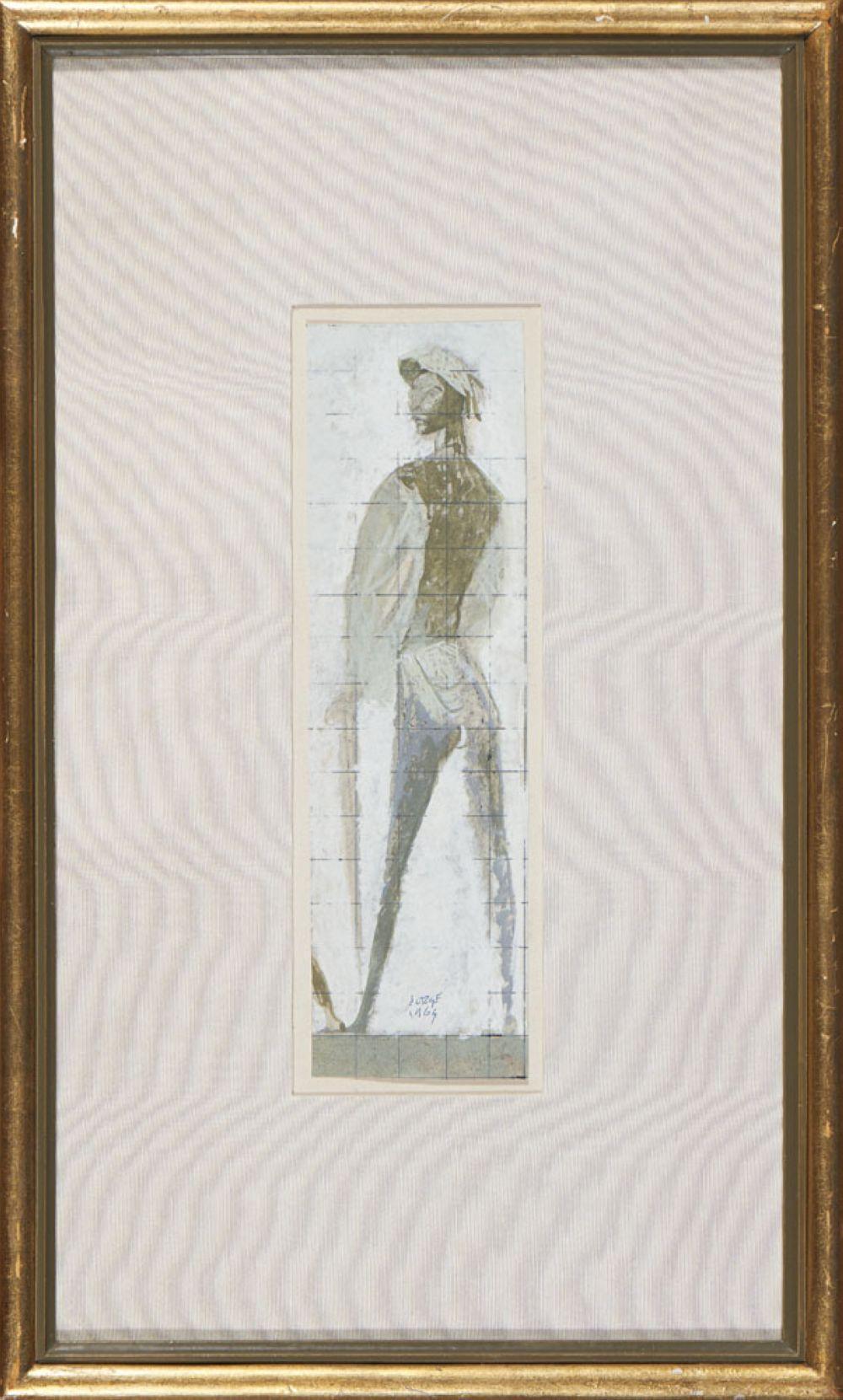 JORGE BARRADAS, GUACHE S/ PAPEL, 8 X 26 CM
