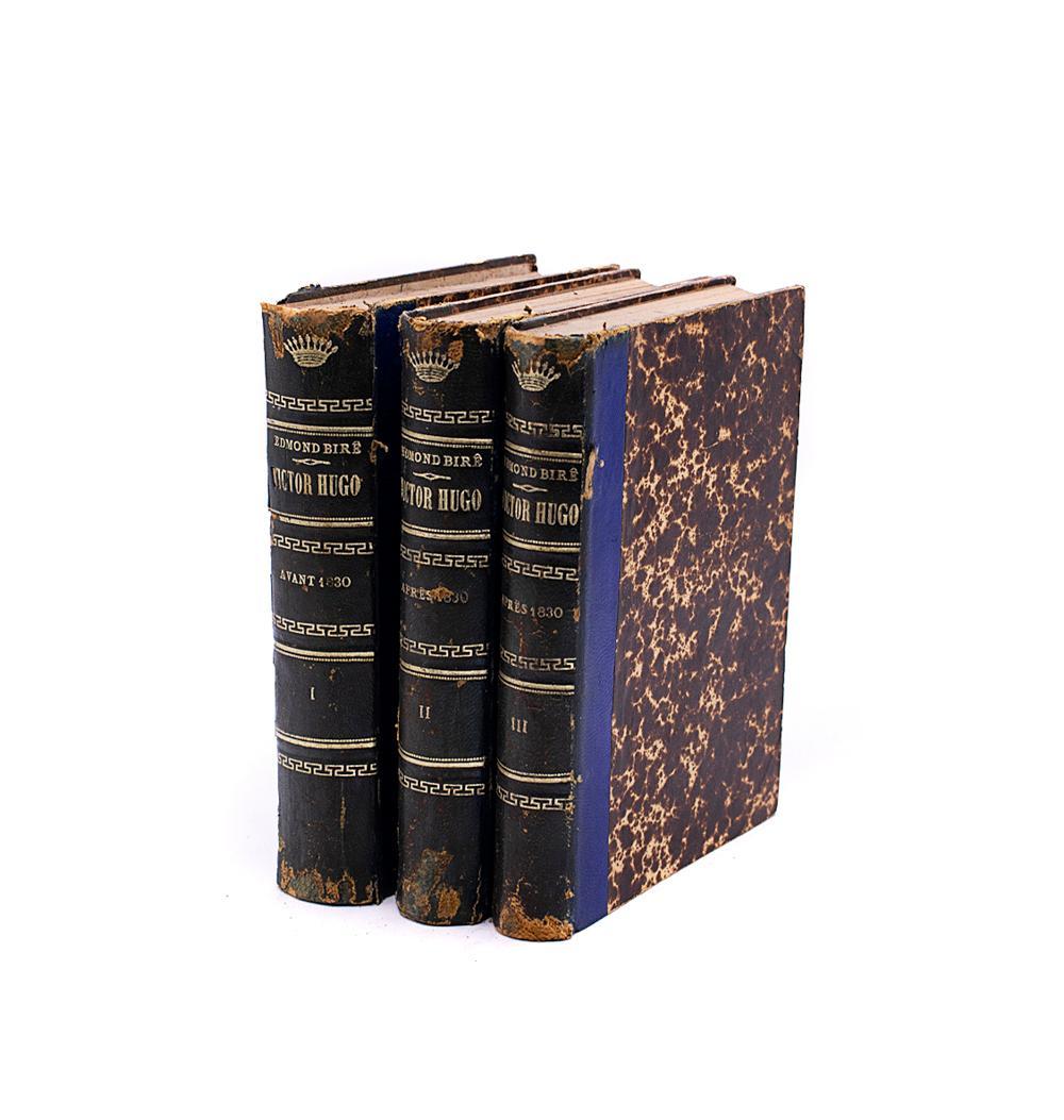 BIRÉ, Edmond. VICTOR HUGO, 3 vols. encs.