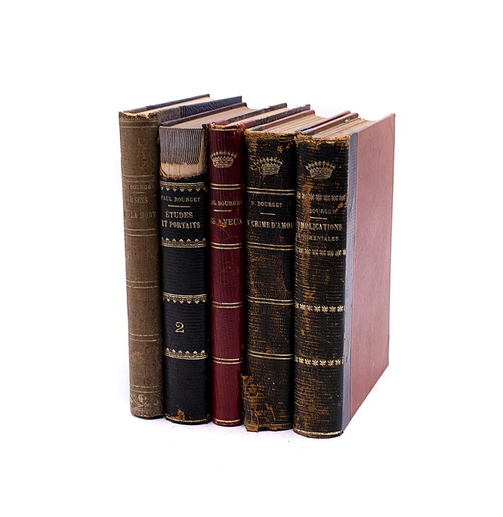 BOURGET, Paul. Lote de 5 vols. encs.