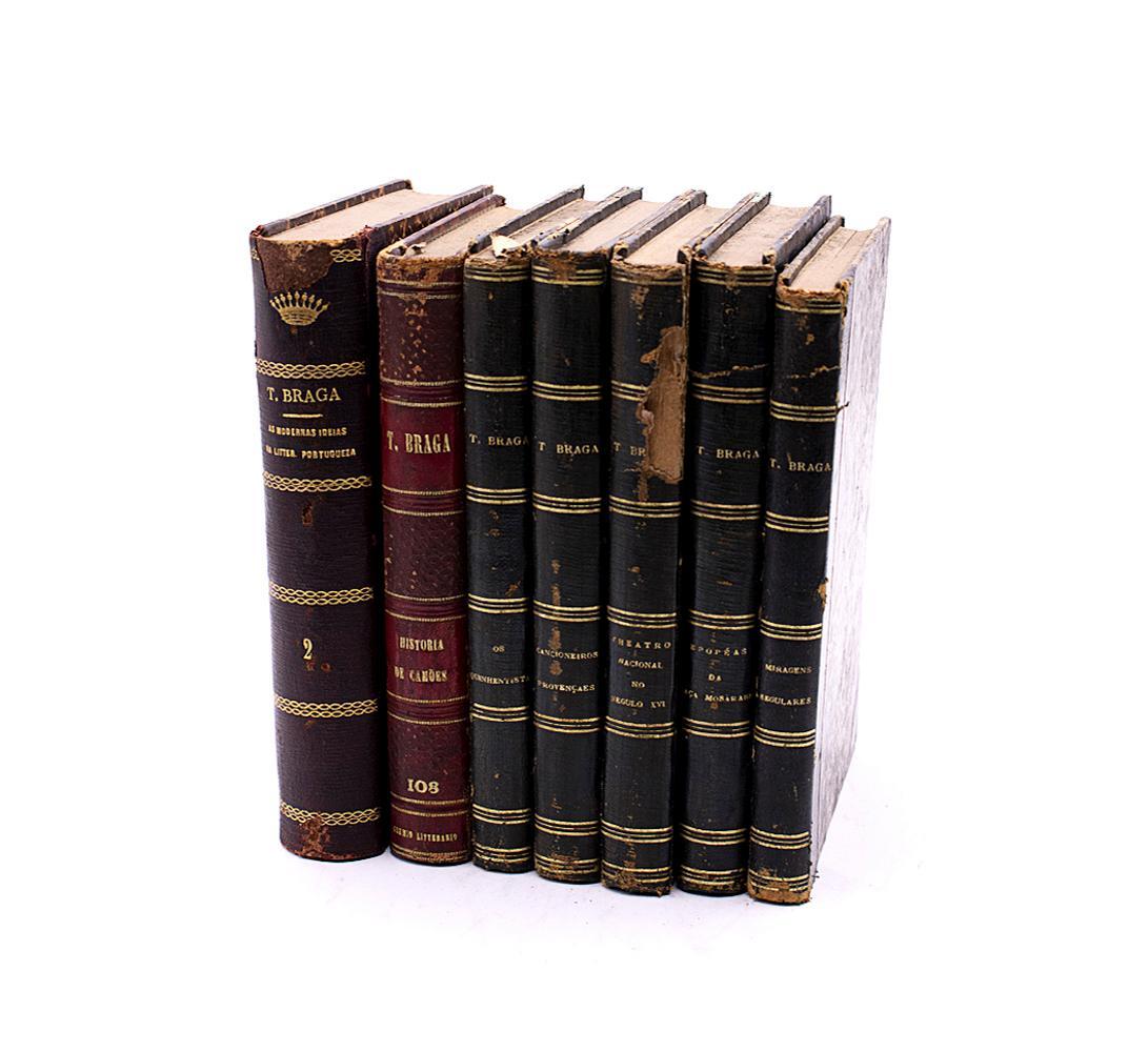 BRAGA, Teófilo. Lote de 7 vols. encs.