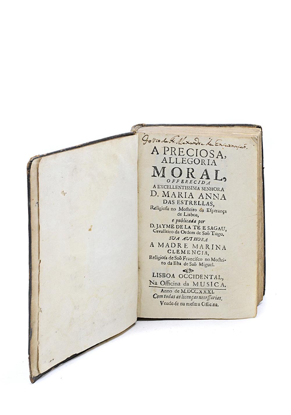 CÉU, Maria do. A PRECIOSA, ALLEGORIA MORAL, 1 vol.