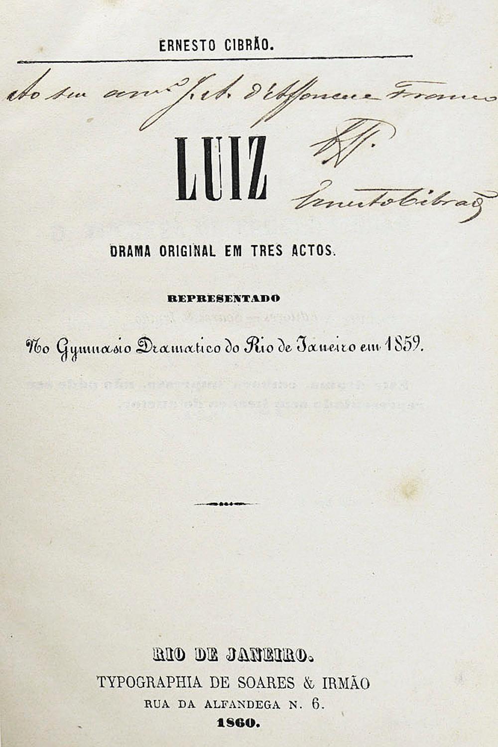 CIBRÃO, Ernesto. LUIZ, 1 vol. enc.