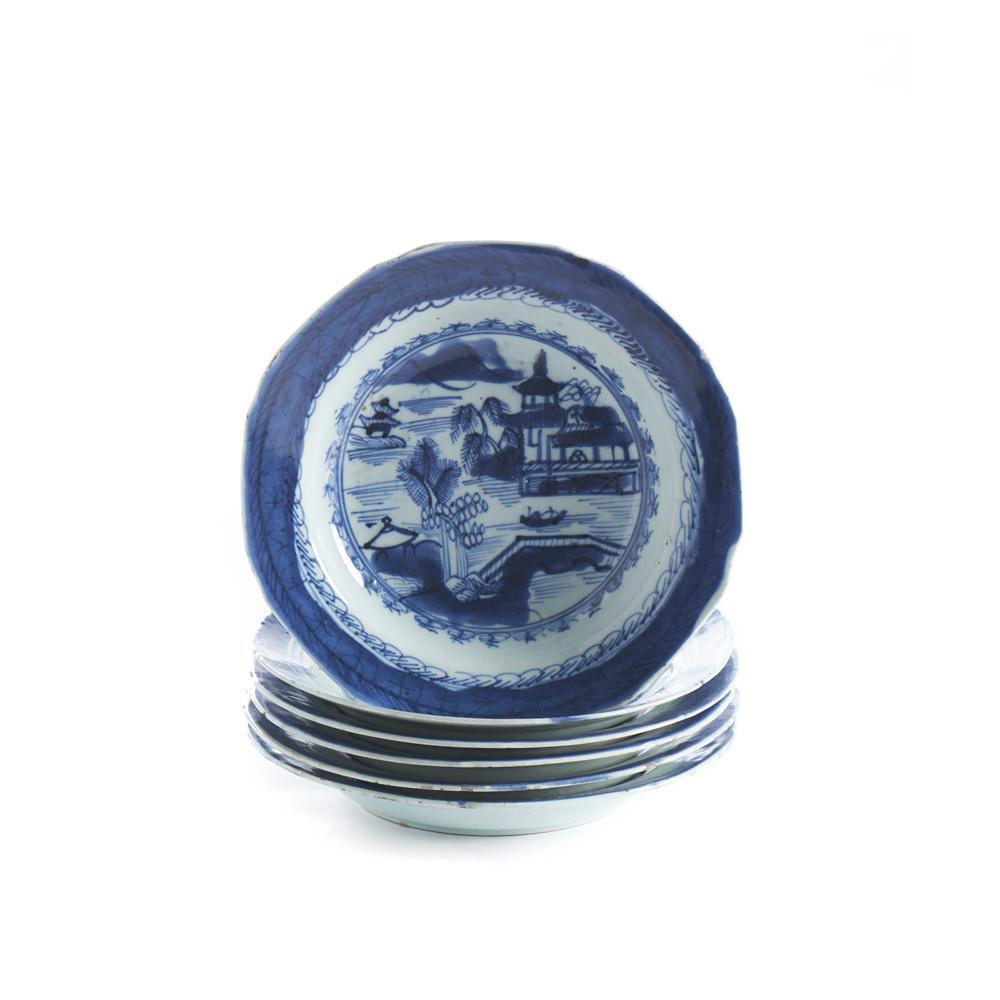 Conjunto de 6 pratos sopa em porcelana chinesa