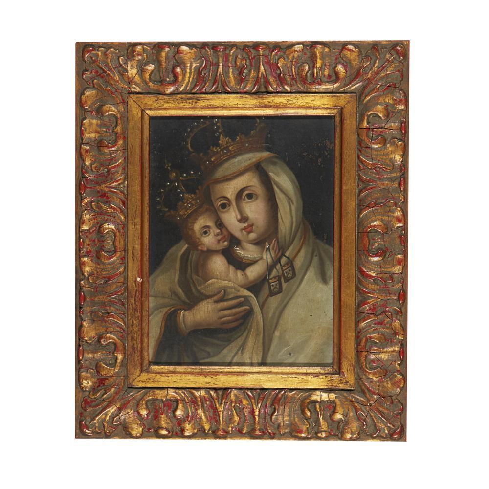Nossa Senhora do Carmo, Óleo s/cobre, 25 x 19 cm.