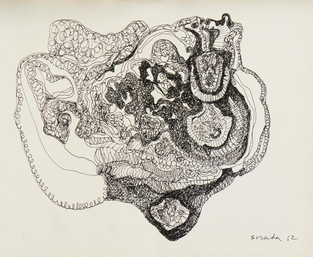 ESCADA, Tinta da china s/ papel, 24,3 x 31 cm.