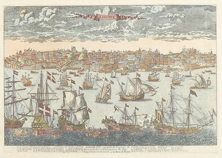 Gravura.«Lisbone...» de Aveline, D. 36,5 x 51,5 cm