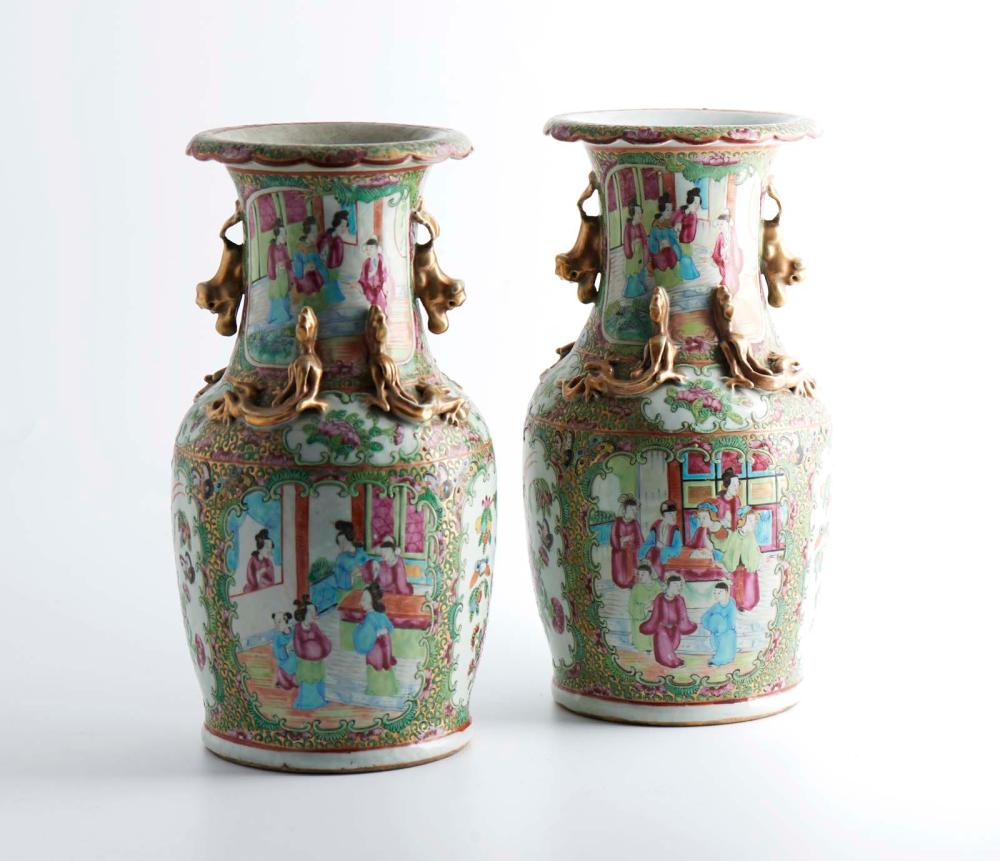 Par de jarrões em porcelana chinesa, Mandarim (2)