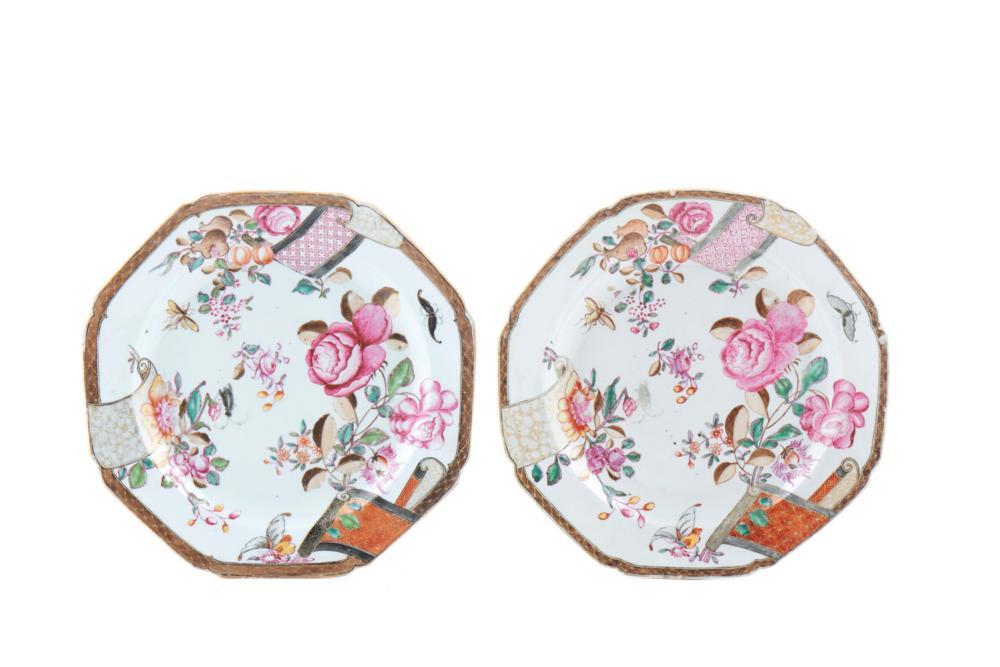 Par de pratos oitavados porcelana chinesa CI (2)