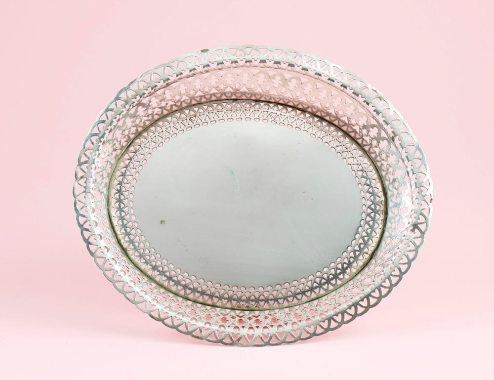 Cesto de gradinha em prata 833%, séc. XX. P. 440g