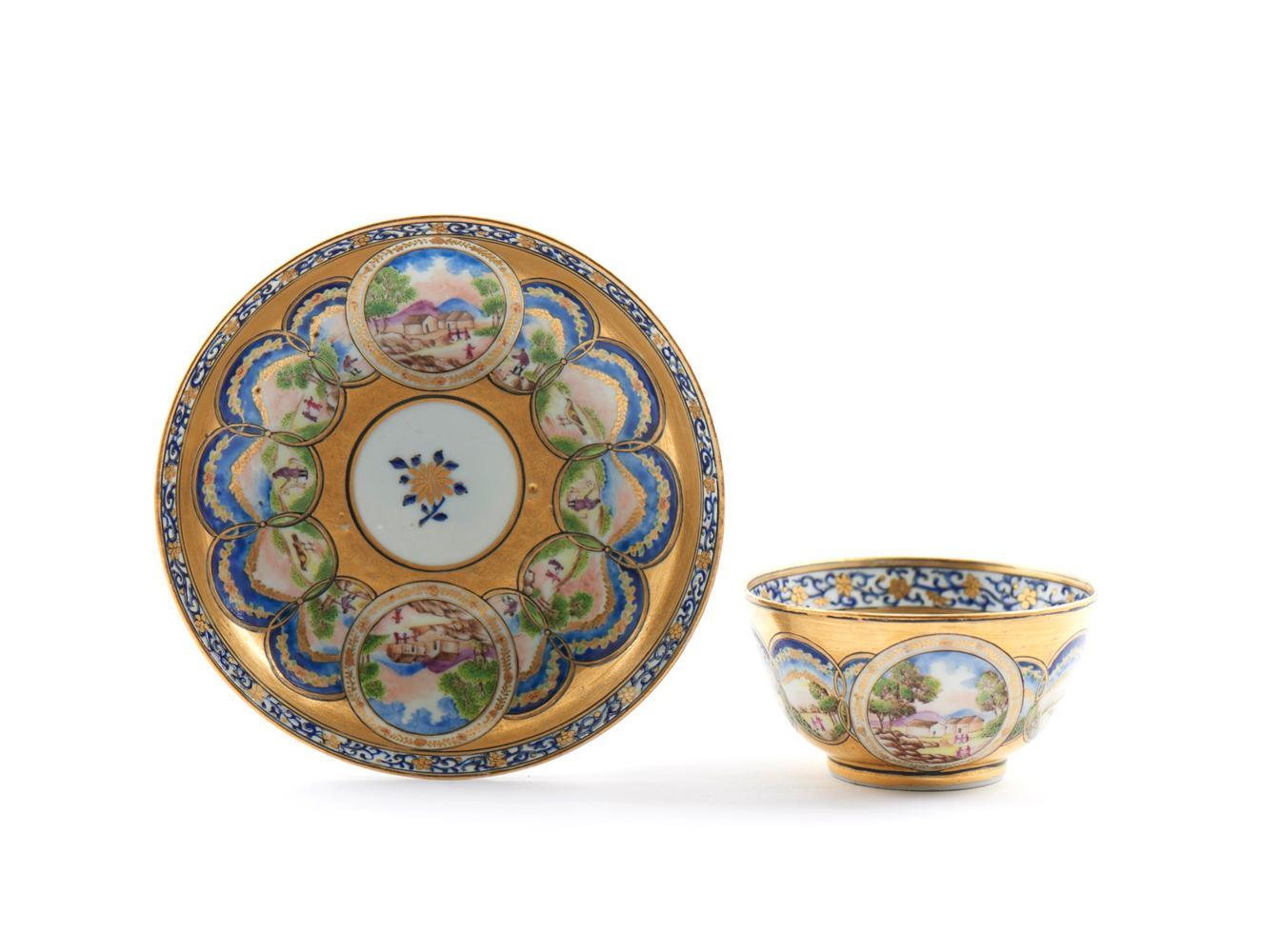Taça com pires em porcelana chinesa CI (2)