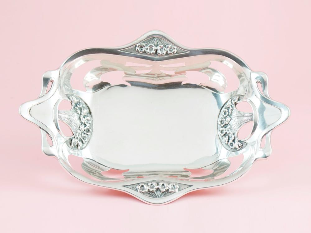 """Cesto """"Art Nouveau"""" em prata, 833%, P.738g"""