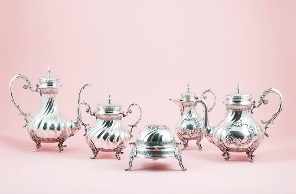 Serviço de chá e café em prata, 833%, P: 4426 g.