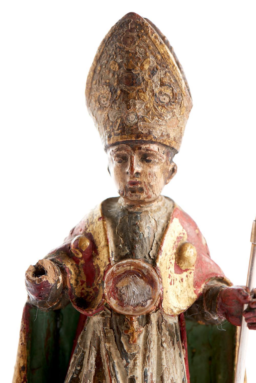 São Brás, escultura/relicário, do séc. XVII, buxo