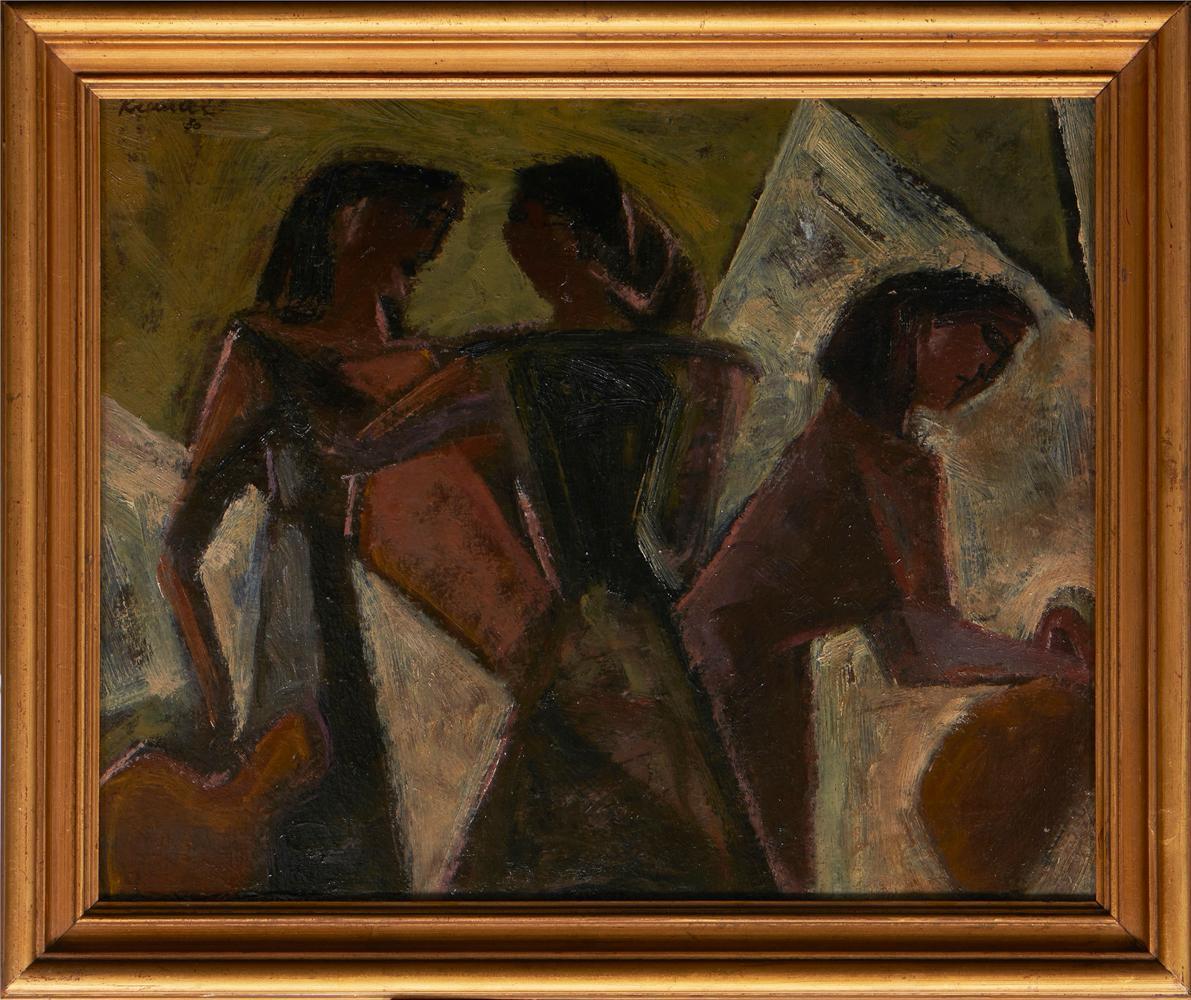 JÚLIO RESENDE, Óleo s/cartão, 36 x 44 cm.