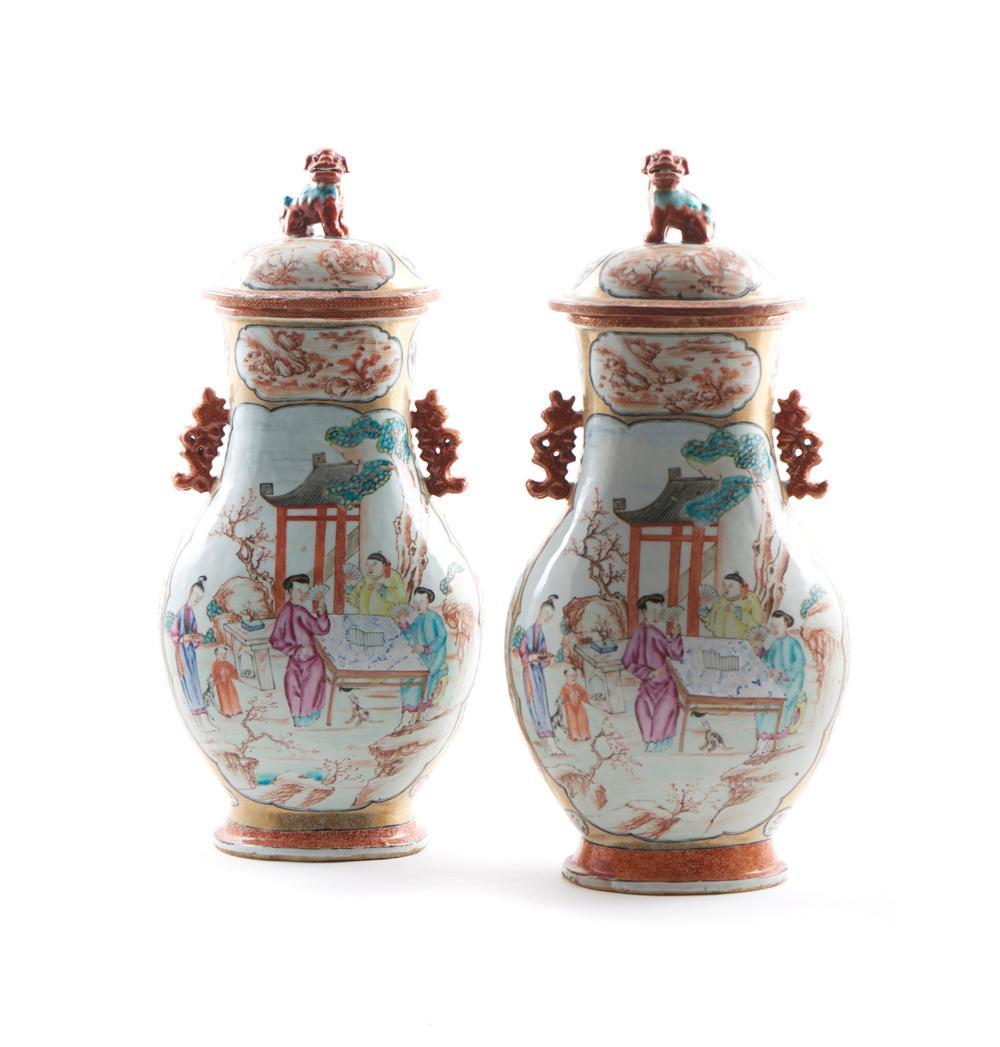 Par de urnas com tampa em porcelana chinesa (2)