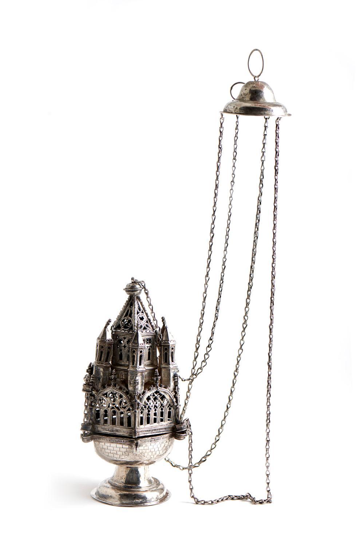 Turíbulo gótico em prata espanhola, P.1140 g.