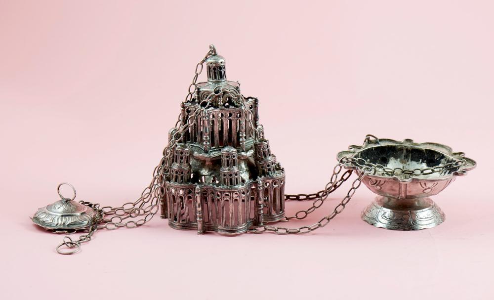 Turíbulo em prata espanhola, séc. XVI, P.1028g