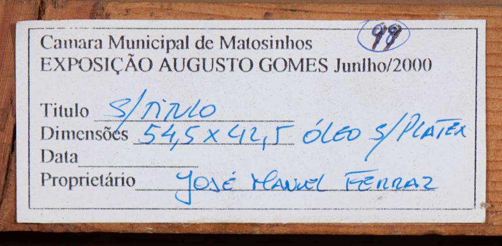 AUGUSTO GOMES, Óleo sobre platex, 54,5 x 42,5 cm.