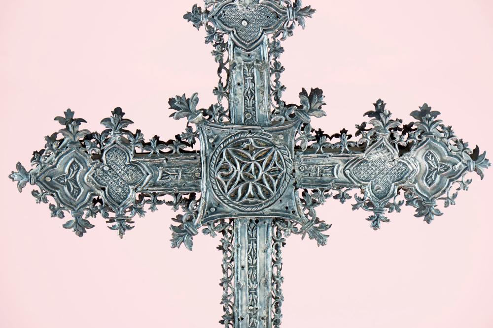 Cruz processional, espanhola em prata, sec.XV