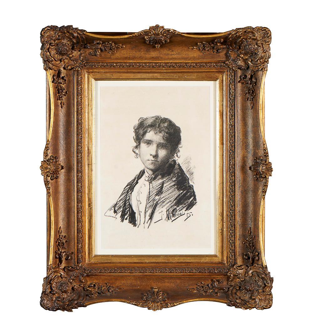 JOSÉ MALHÔA, Figure, charcoal without paper, 39.5 x 27 cm.