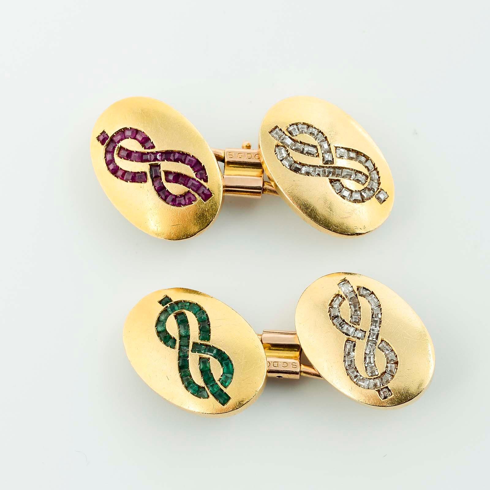 Botões de punho ouro, esmeraldas, rubis, dP.21,8g