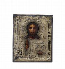 Ícone russo com prata de 875%, Jesus Cristo