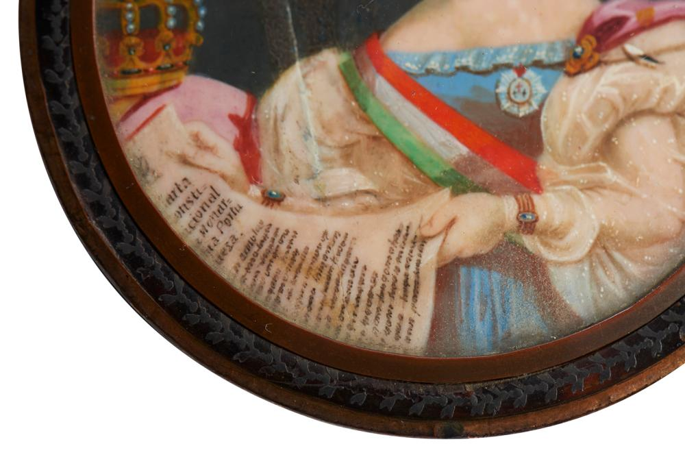 Caixa em tartaruga e prata, tampa com D. Maria II