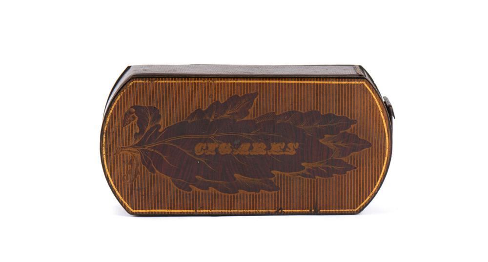 """Caixa para cigarros em """"papier machê"""", madeira"""
