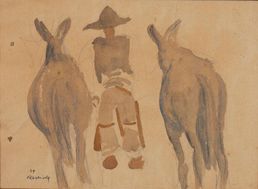JÚLIO RESENDE, aguarela s/papel, 16 x 21,5 cm.