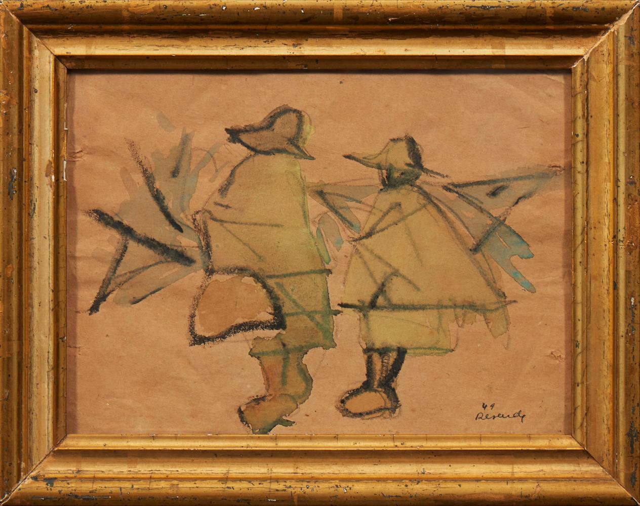 JÚLIO RESENDE, aguarela s/papel, 15,5x 21 cm.