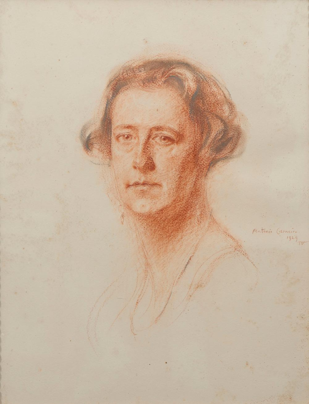 ANTÓNIO CARNEIRO, sanguínea s/papel 55 x 40 cm.