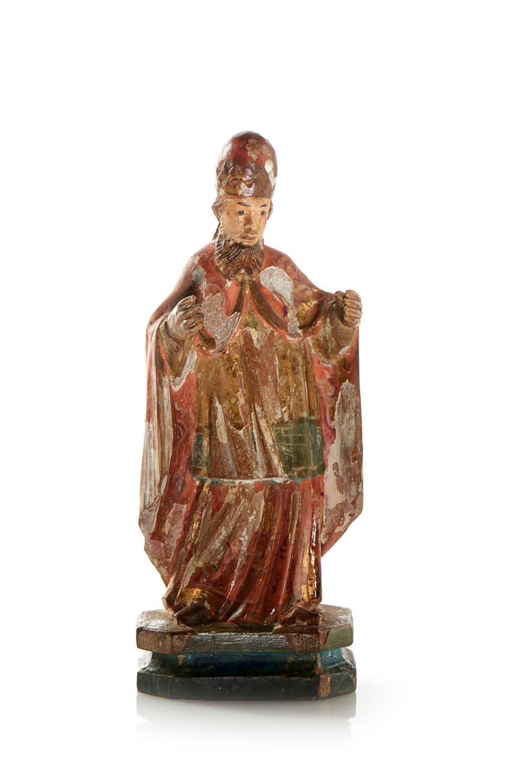Santo Bispo, escultura do séc. XVII, em madeira