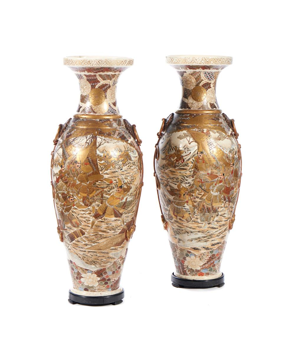 Par de grandes jarrões em porcelana Satsuma (2)